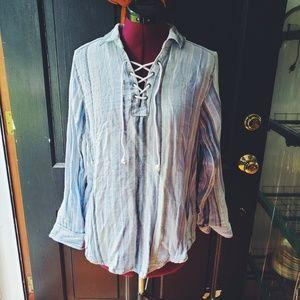 Sonoma Blue and White Boho Relaxed Shirt